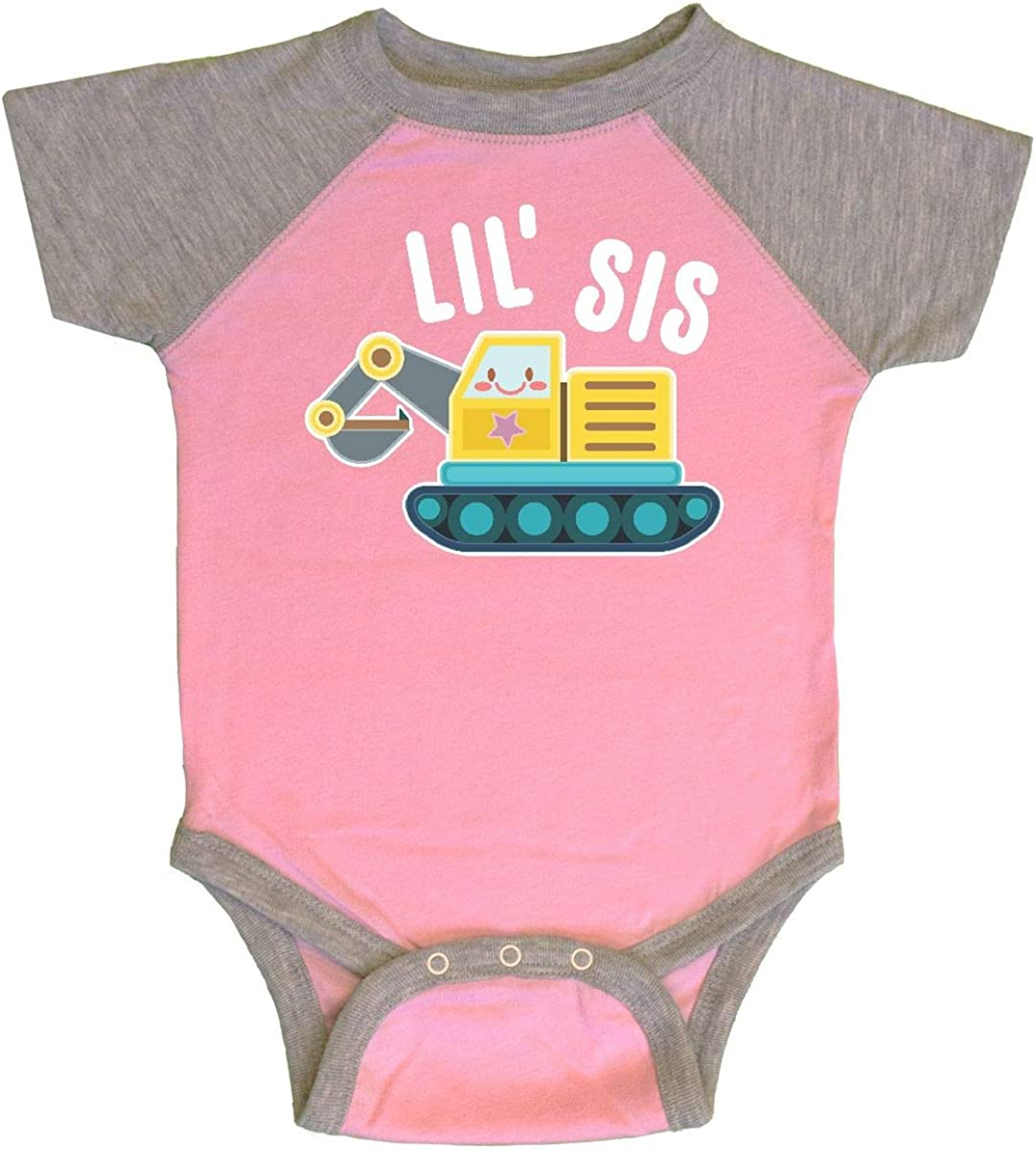 inktastic Lil Sis in with Bulldozer Long Sleeve Creeper