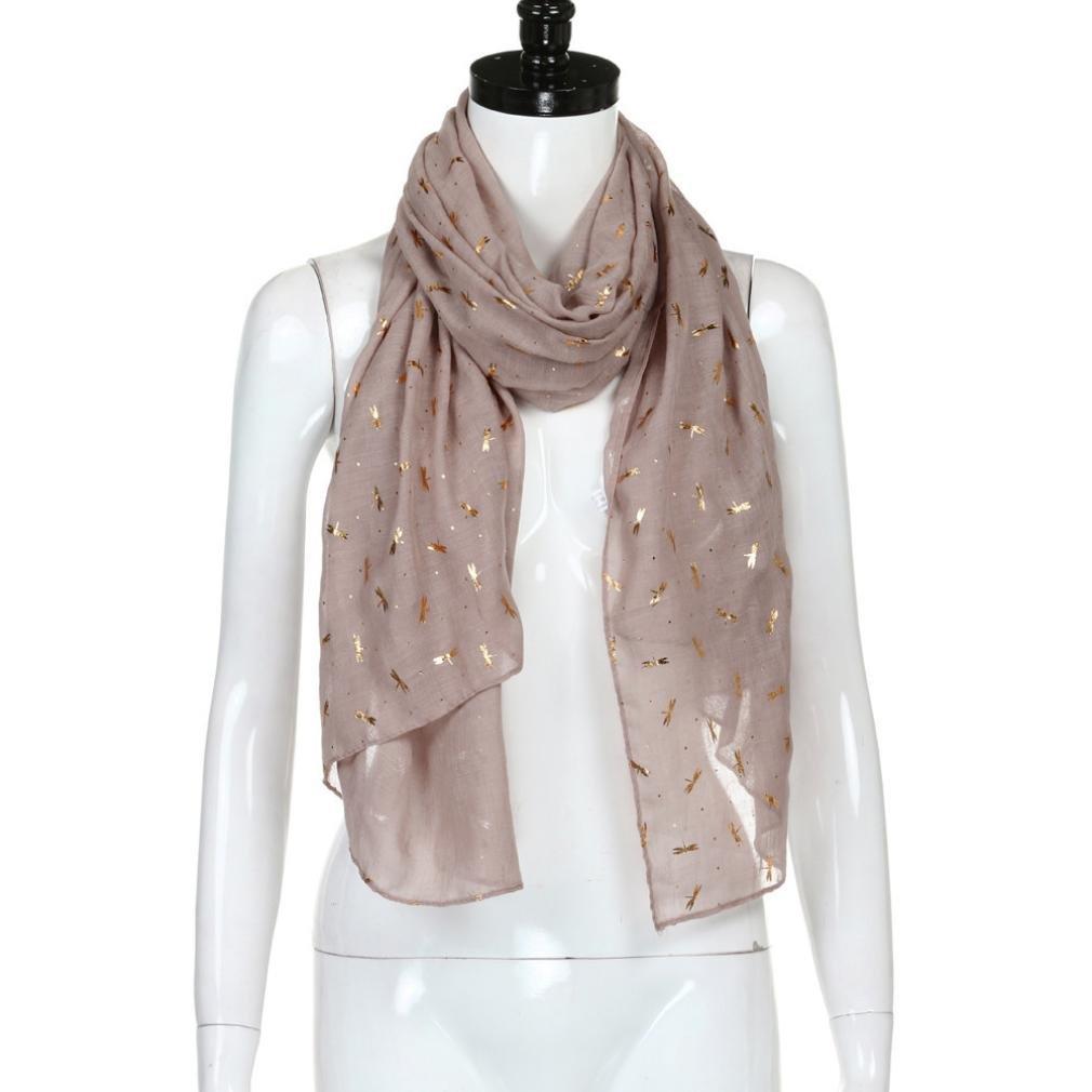 Bomdes Fashion Womens Foil Dragonfly Print Shawl Stole Scarf Scarves Pashmina