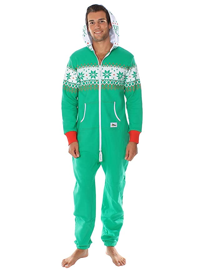 846a02fcdd30 Amazon.com  Tipsy Elves Ugly Christmas Sweater Party - Fair Isle Green  Adult Jumpsuit Size S  Clothing