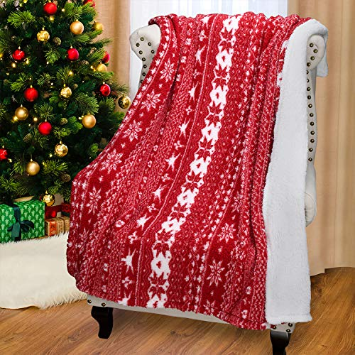 Catalonia Christmas Sherpa Throw Blanket,Super Soft Warm Fuzzy Comfy Snowflake Blankets,Reversible Fluffy Throws,Holiday Theme Blanket(50X60 inches,Red) (Blankets Fuzzy Christmas)