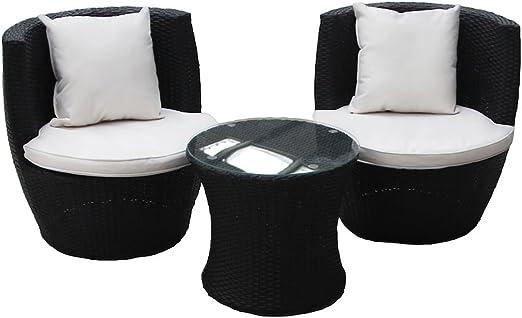 Set de 3 piezas mesa y sillas apilables de mimbre y ratán para jardín y patio - negro: Amazon.es: Jardín