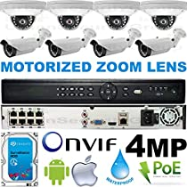 USG Business Grade 4MP 2592x1520 8 Camera HD Security System : 16 Channel 6MP Security NVR + 4x Dome 2.8mm & 4x Bullet Motorized 2.8-12mm Cameras + 1x 2TB HDD : Apple Android Phone App