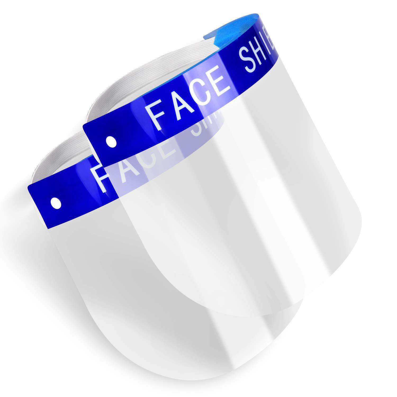 Paquete de 2 protectores faciales de seguridad, gorra de protección integral con escupidera de visera amplia transparente con banda elástica ajustable para hombres y mujeres