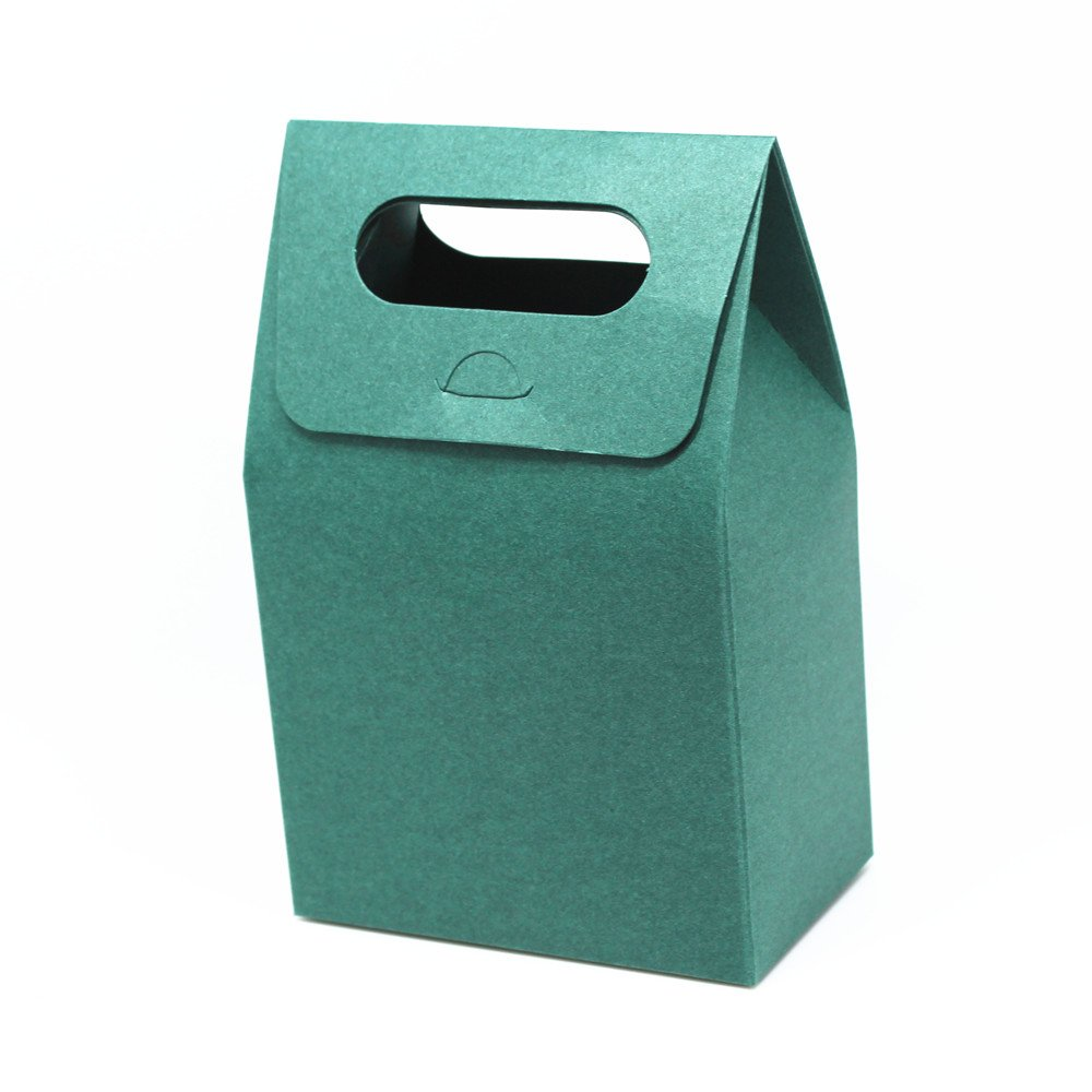 180 Pieces 3.9''x2.36''x6.29'' (10x6x16cm) Dark Green Kraft Paper Packaging Box with Handle Food Wedding Favors Gift Packing Box
