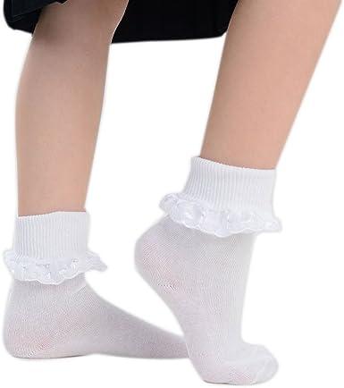 Ladies Women Girls Kids Extra Soft Cotton Socks School Frilly Lace Ankle Socks