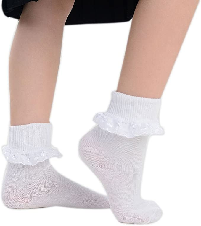 New School Socks for Kids 3 and 6 Pairs Girls Cotton Frilly Lace Ankle UK SELLER