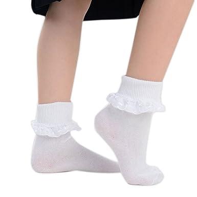 neue niedrigere Preise erstaunliche Qualität hohes Ansehen adam & eesa 6 Paar Damen Mädchen Weiß Rüschen Spitze Schule Knöchel  Socken-3 styles-uk Größe