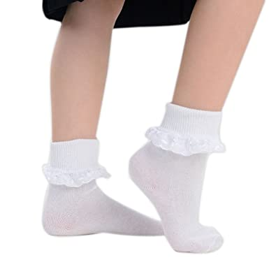 65f806a410b90 6 Pairs of Ladies Girls White Frilly Lace School Ankle Socks -3 Styles-UK  Size: Amazon.co.uk: Clothing