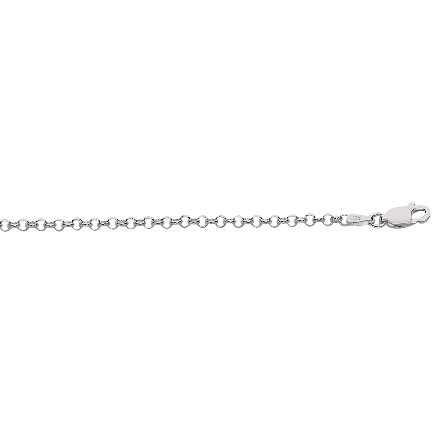 Sterling .925 Silver Rhodium 2.4mm Rolo Link Chain 16-24 Necklace Pear Shape Lobster Claw by IcedTime