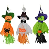 3PCS Halloween Decoration Hanging Ghost, Pumpkin Ghost Straw Windsock Pendant for Patio Lawn Garden Party and Holiday Decorations By Rely2016