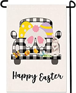 Happy Easter Bunny Truck Garden Flag Black White Buffalo Plaid Check Eggs Chick Butterfly Home Porch Outdoor Decor 12 x 18 Inches