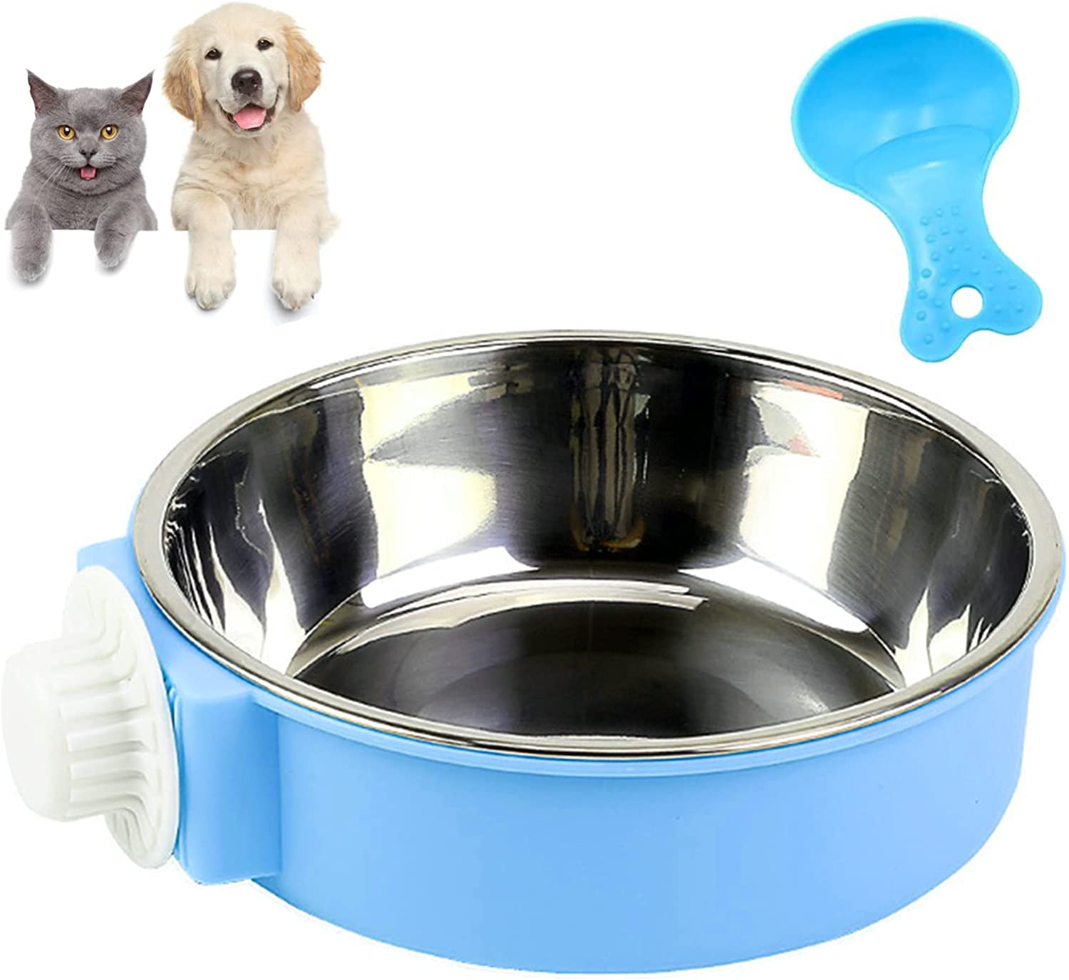 Lucky Interests Blue Crate Dog Bowl, Plastic Bowl & Stainless Steel Bowl Removable Hanging Food & Water Feeder 2-in-1 Cage Bowl Coop Cup for Cat, Dog, Birds, Parrot, Puppy with Pet Food Spoons