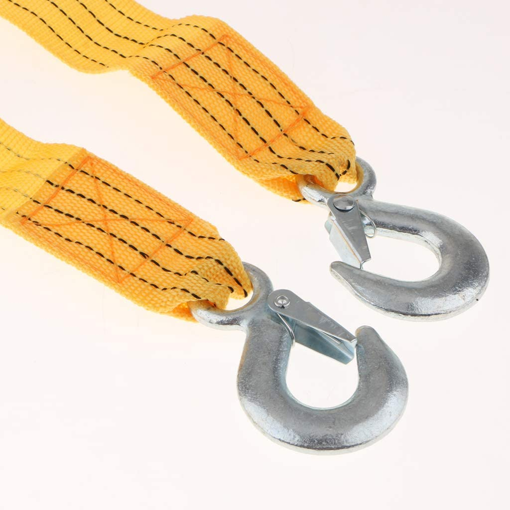 2 x 20 Safety Rope Yellow Tow Strap with Hooks Heavy Duty 10000 lb