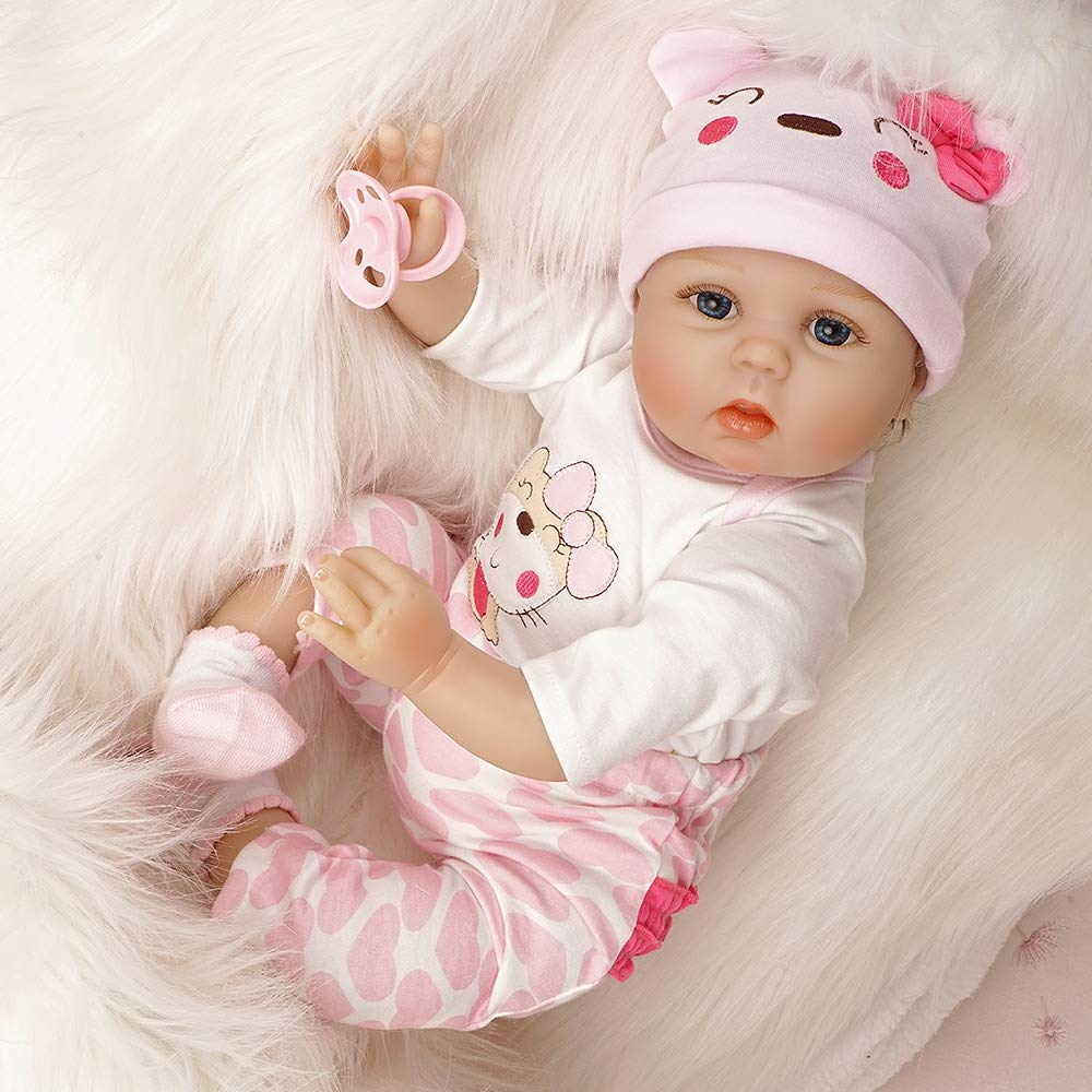 Reborn Baby Dolls Girl Look Real Silicone Pink Outfit 22 Inches