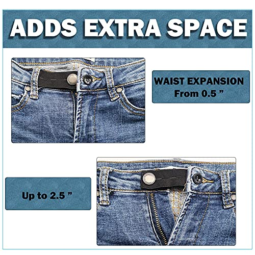 AXEN 6 Pieces Elastic Waist Extenders, Adjustable Wasitband Expanders, Button Extender for Pants Jeans Trousers, Pack of 6 with 3 Colors