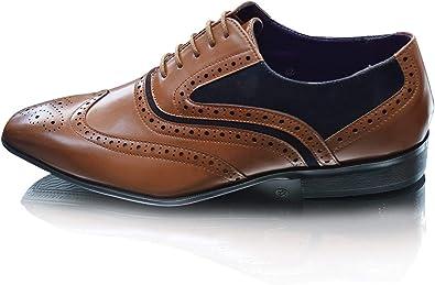 TALLA 41 EU. Zapatos elegantes para hombre con cordones para oficina, fiesta de negocios, boda, punta redonda, punta de ala formal, talla Reino Unido