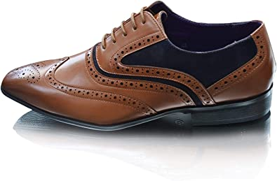 Zapatos de cordones para hombre Smart Office Business Party Boda punta redonda con punta de ala formal, talla Reino Unido