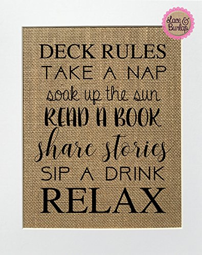 DECK RULES / Fun Family Wall Print / Burlap sign 8x10 / Rustic Country Shabby Chic Vintage / Love House Sign / Gift / Kitchen / House Decor - Shops On Lake
