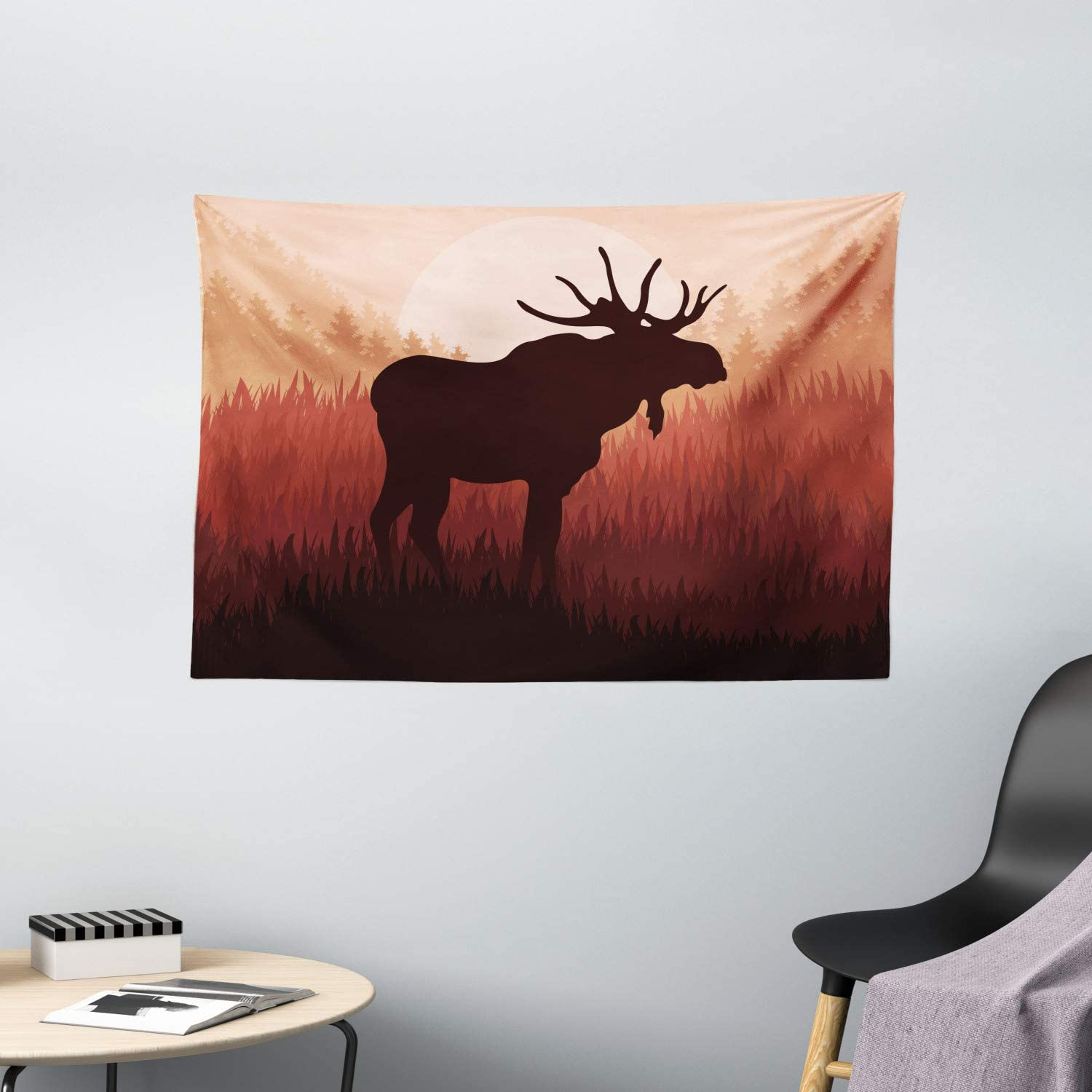 "Ambesonne Moose Tapestry, Antlers in Wild Alaska Forest Rusty Abstract Landscape Design Deer Theme Woods, Wall Hanging for Bedroom Living Room Dorm, 60"" X 40"", Peach Brown"