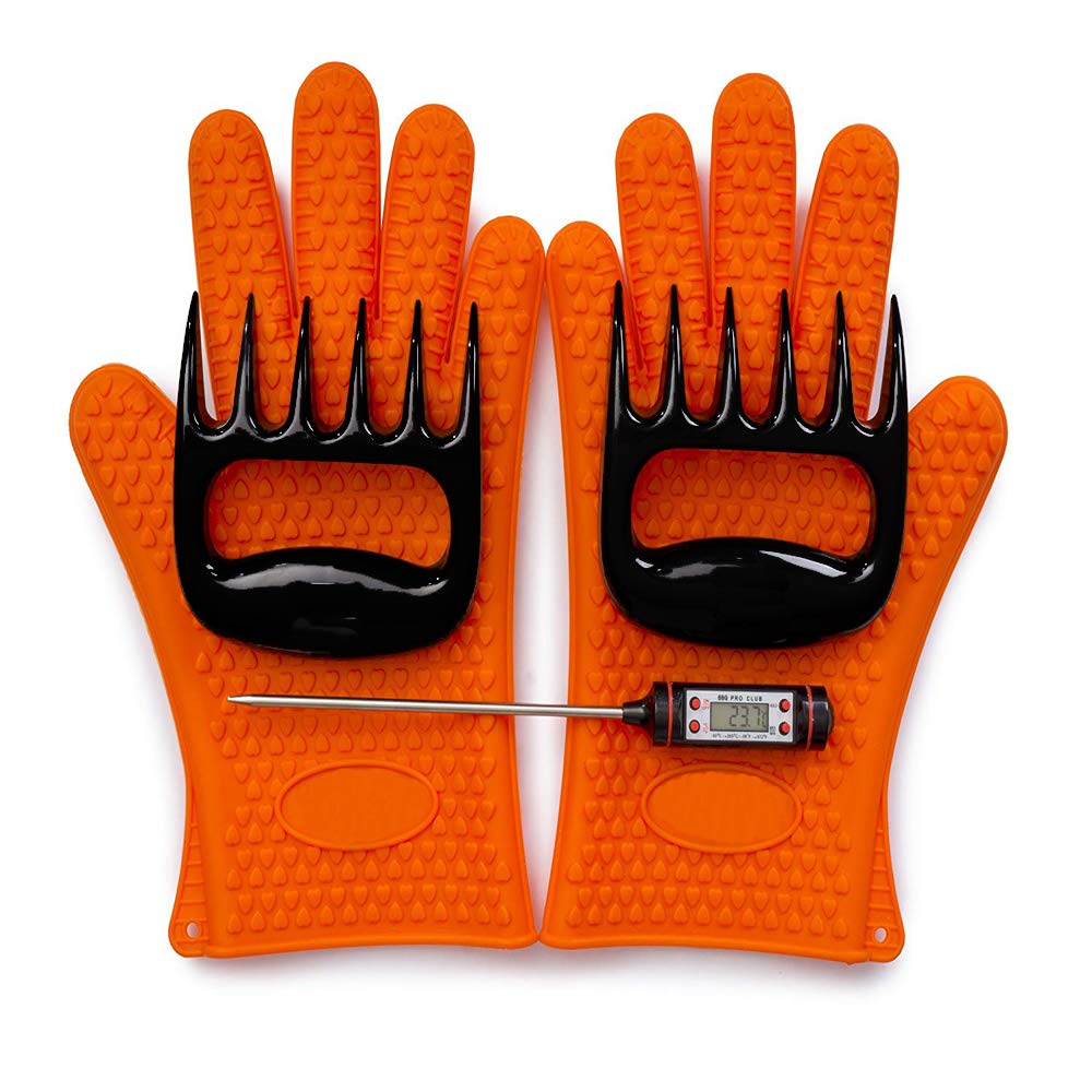 Cooking Grilling Gloves BBQ Heat Resistant, Bear Meat-Claws and Meat Thermometer Instant Read (3 Pcs Gift Set)