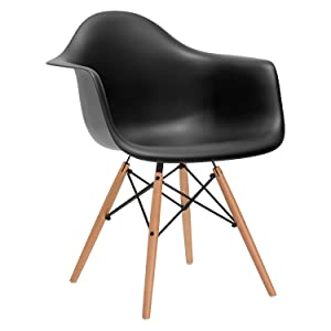 nufurn Eames Style Designer Dining/Living Room Chair with Arms (Black)