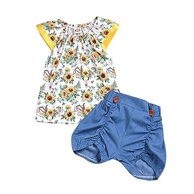 b62b7d3675b4c MRULIC Chic Ensemble de 2 Pièces Enfant Bébé Fille Haut sans Manches +  Jeans Pantalons Shorts
