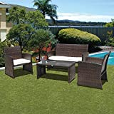PATIOROMA 4pc Rattan Sectional Furniture Set with Seat Cushions, Outdoor PE Wicker, Brown