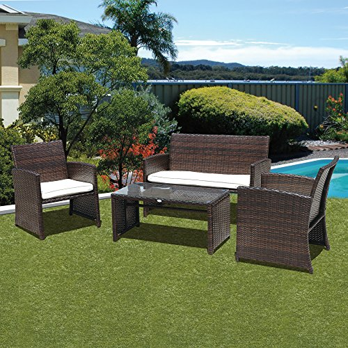 PATIOROMA 4pc Rattan Sectional Furniture Set with Cream White Seat Cushions, Outdoor PE Wicker, Brown price
