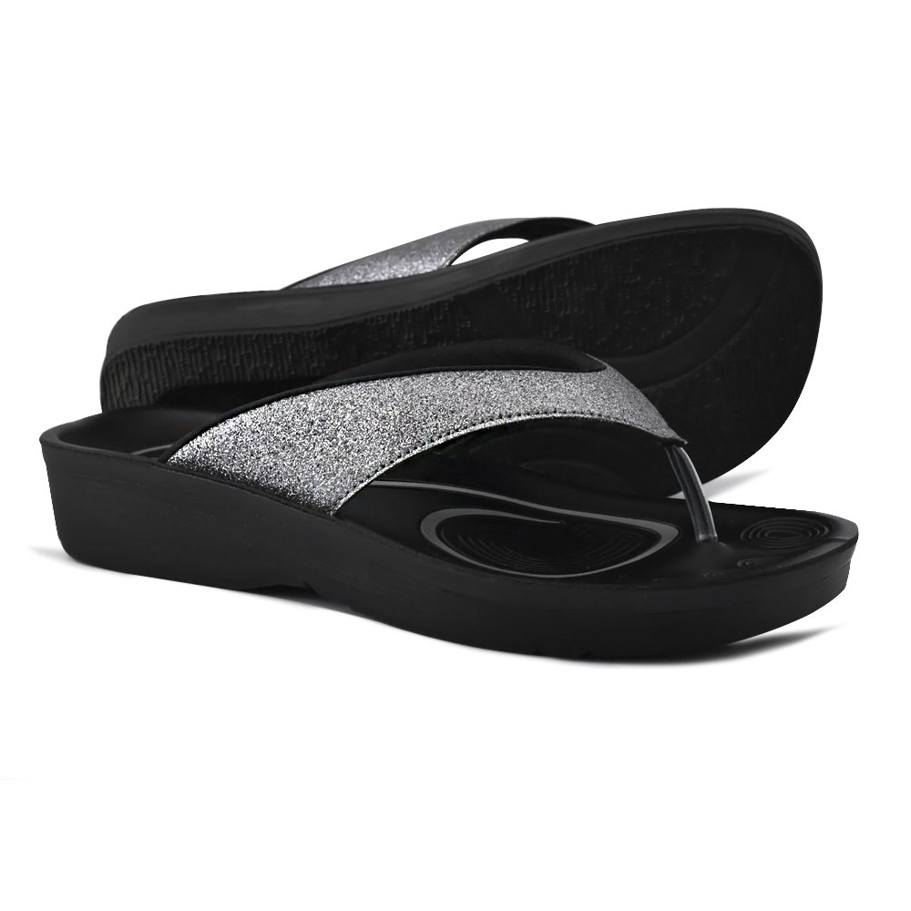 AEROTHOTIC Original Orthotic Comfort Thong Sandal and Flip Flops with Arch Support for Comfortable Walk (US Women 10, Crystal Grey)