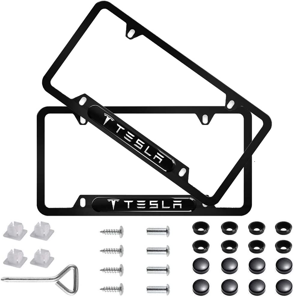 Silver Bocianelli 2 Pack High-Grade License Plate Frame for Tesla,for All Tesla License Frame,with Screw Caps Cover Set