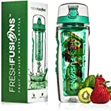 Fresh Fusions 32oz Fruit Infuser Water Bottle Combo Set - 32 oz Capacity- Infusion Set + An Insulated Sleeve (Emerald)