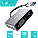 USB 3.0 to HDMI VGA 変換 アダプタ hdmi usb 変換 ケーブル vga usb 変換 アダプタ 同時出力 HDTV 1080p Windows 10/8/7対応