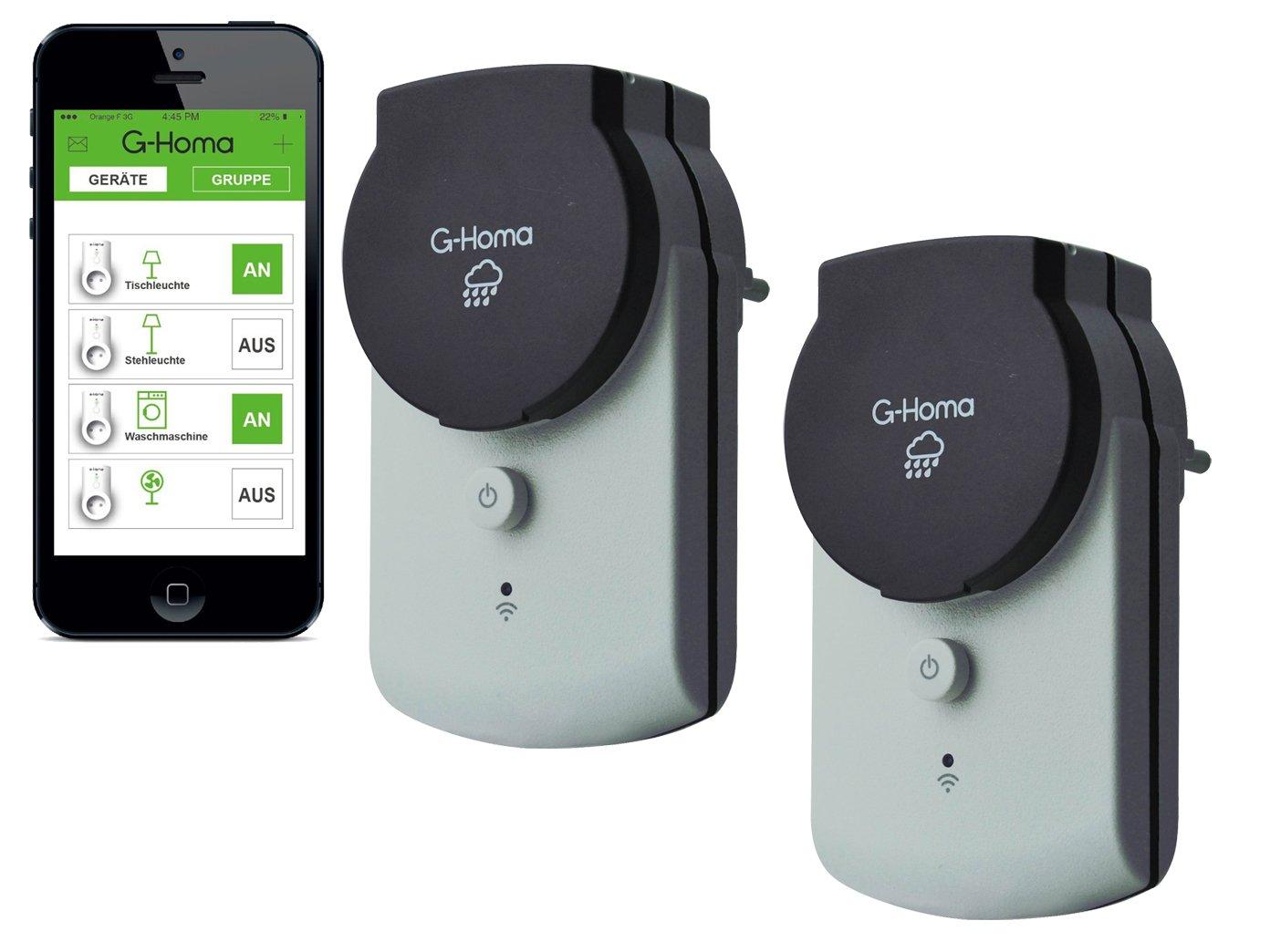 4smile.shop Wifi Schalt-Steckdose mit App-Steuerung f/ür Aussenbereich IP44 2 St/ück in grau
