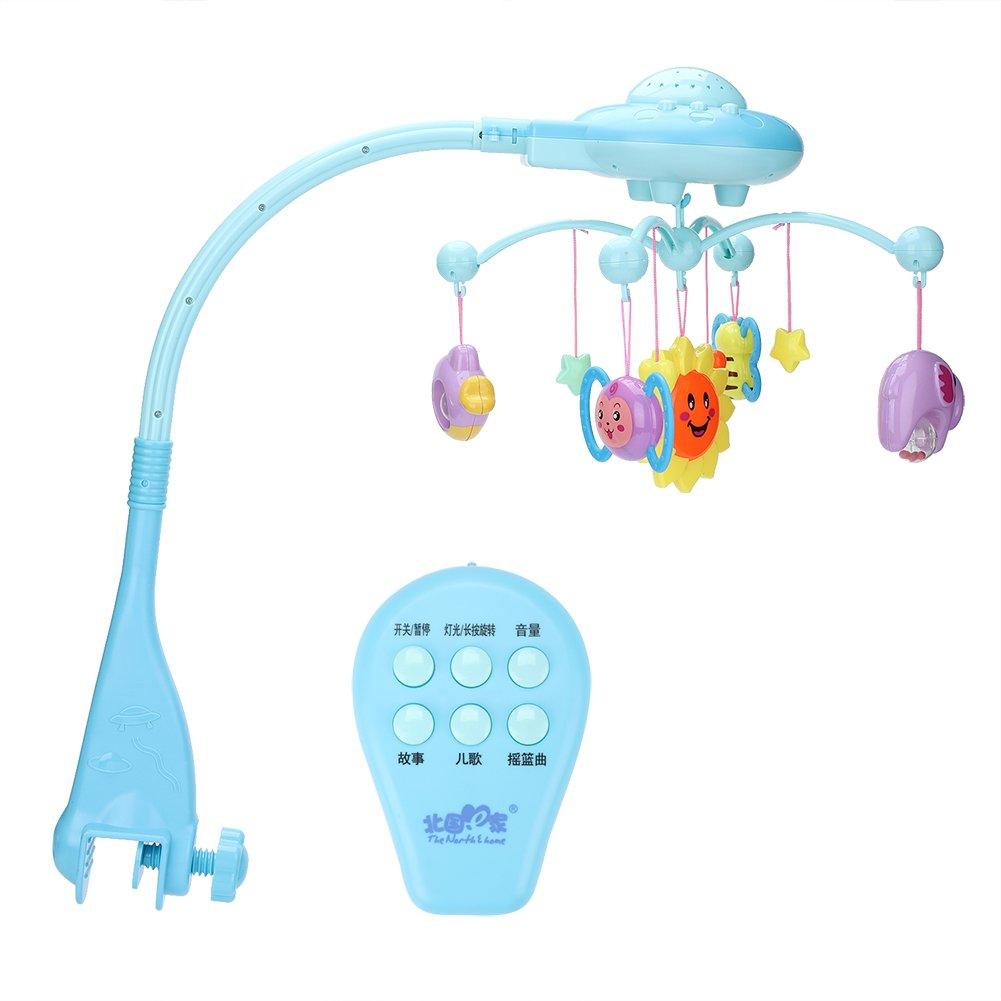 GOTOTOP Campana Campana de Juguete, Campana Cama de Música Móvil Colgante Giratorio Proyección de Juguete Educativo Bebé Regalo Recién Nacido para Niños Pequeños(Azul)