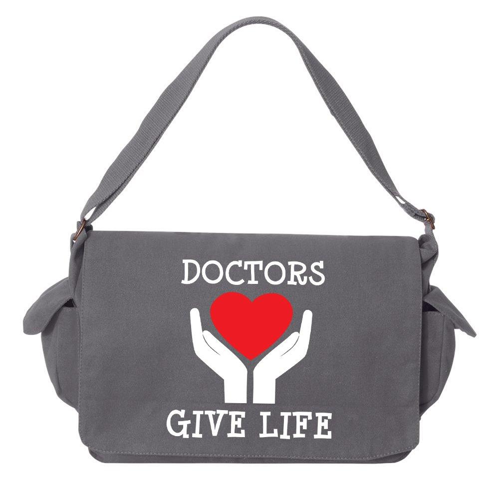 tenacitee Doctors Give Life Brushedキャンバスメッセンジャーバッグ One Size グレー 10340aa25 B0736LQJHZ