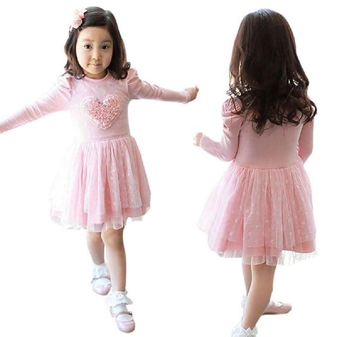 8e156afb20a Valley Boutique Flower Girls Long Sleeve Autumn Winter Dress Tutu Dress  Party Dress Pink (2T