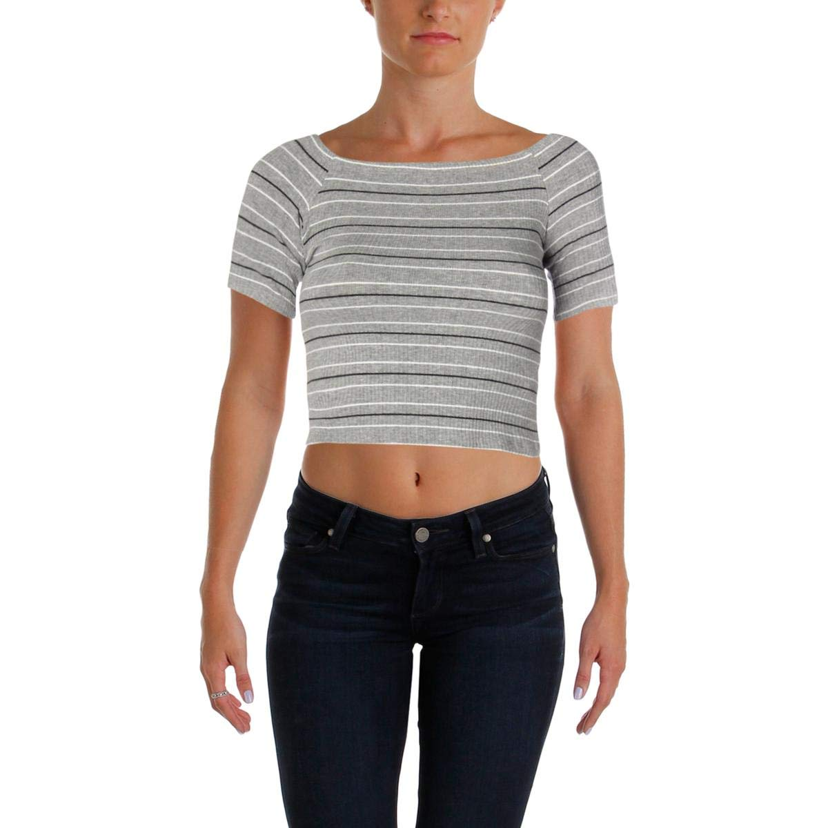 Michelle By Comune Women's Beason Off The Shoulder Rib Top, Heather Grey/Black/White, M