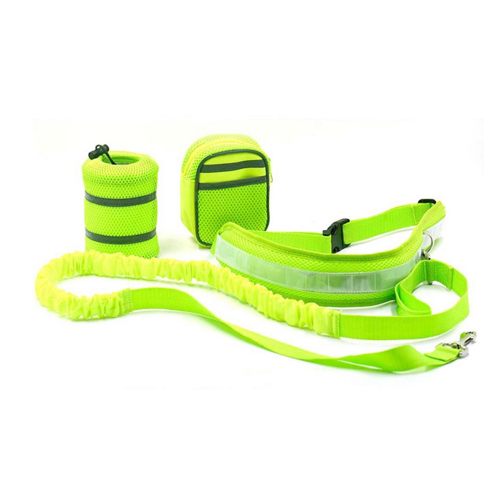 ACTLATI 4PC Walking Dog Set Dog Leash + Reflective Running Belt + Water Bottle Holder + Waist Bag Pouch for Outdoor Running Jogging Cycling