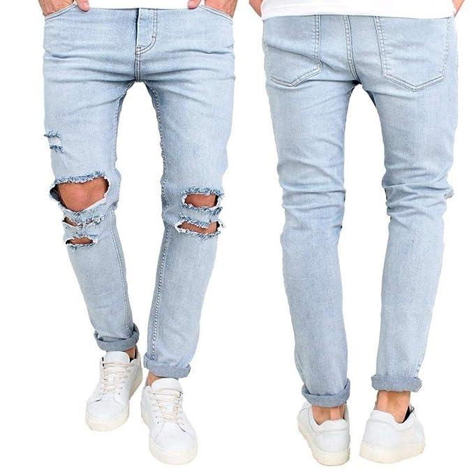 Elodiey Pantalones Pantalones Vaqueros De Los Hombres ...