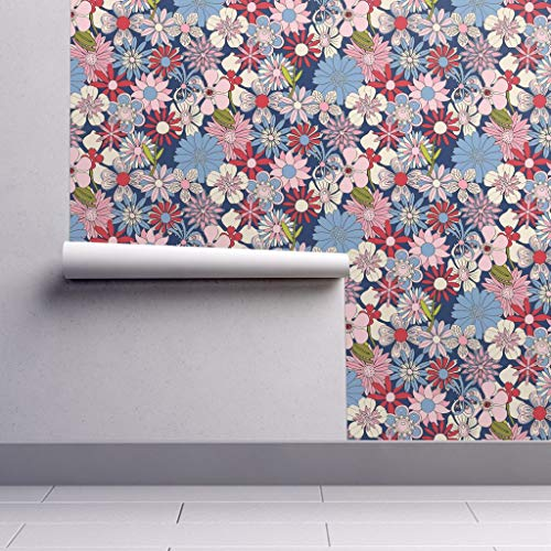 Peel-and-Stick Removable Wallpaper - Chelsea Nature Summer Garden Floral Flowers Mod Psychedelic by Pennycandy - 24in x 60in Woven Textured Peel-and-Stick Removable Wallpaper Roll ()
