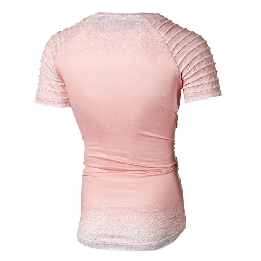 Shirt for Men F/_Gotal Mens T-Shirts Fashion Summer Short Sleeve Pleats Slim Fit Raglan Casual Tee Shirts Blouse Tops