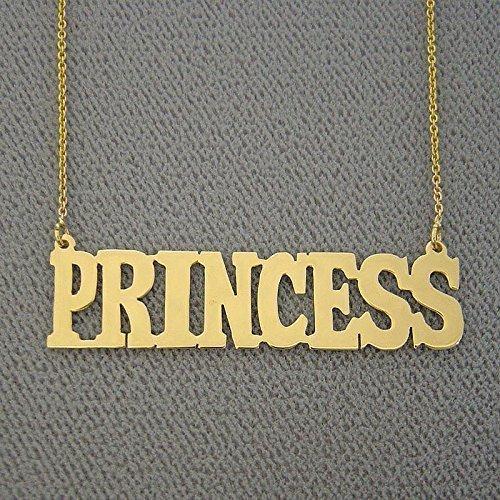 Name Necklace 10k Gold Custom Made Block Font Nameplate Char