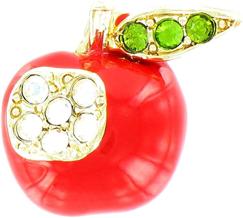 Body Bling Red on Gold Plated Small Apple Brooch