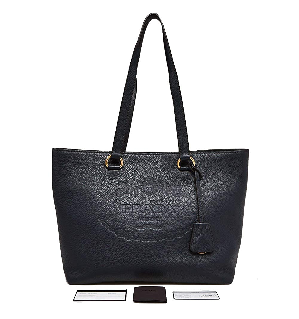 ae38a7c9b5fc Amazon.com: Prada Black Vitello Daino Calfskin Leather Shopping Tote Bag  1BG100: Shoes