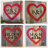 Custom string art heart sign with branded names, initials, wedding date and forever sign. Perfect for Valentine's Day, Anniversaries, Wedding and new baby gifts.