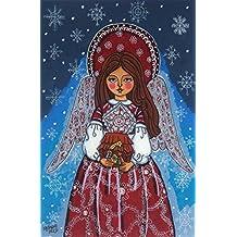 Christmas print Christmas angel print Nativity Folk art angel artwork Christmas religious Christmas decoration Christmas wall art Christmas artwork Catholic painting Catholic print