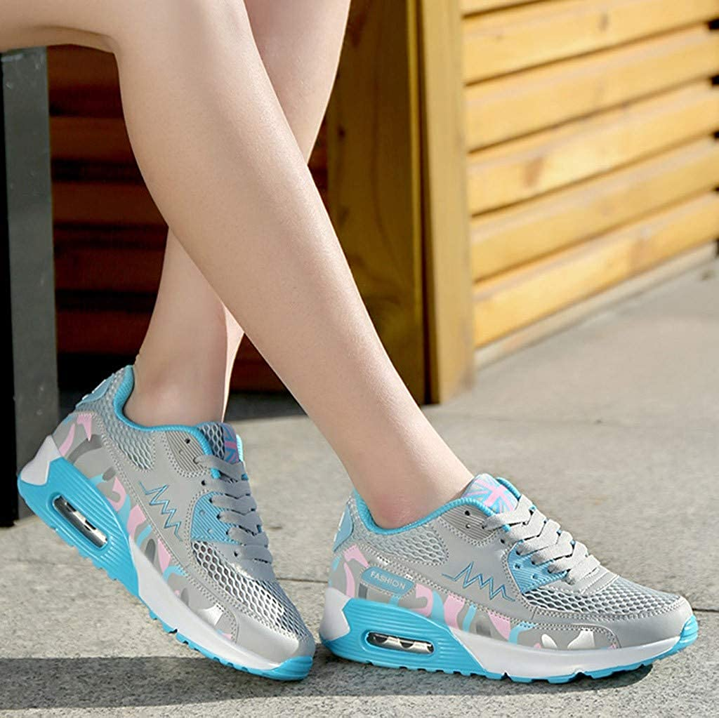 Vowes Womens Running Shoes Solid Color Lace-up Air Cushion Outside Sport Sneakers Lightweight Breathable Mesh Fitness Wedges Shoes