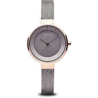 BERING Reloj Analógico para Mujer de Energía Solar con Correa en Acero Inoxidable 14631-369: Amazon.es: Relojes