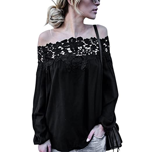 bcd5472a899 Amazon.com  Kimloog Women Off Shoulder Strapless Lace Long Sleeve Solid Tops  Casual Blouse T Shirts  Clothing