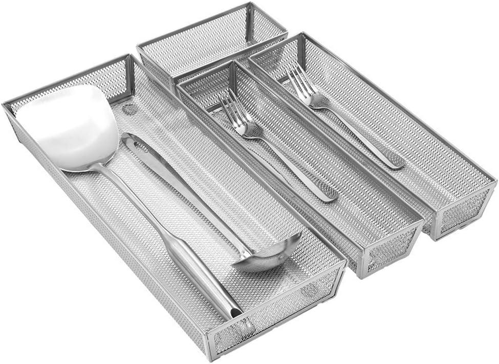 Organizador Cajones Cocina de Malla Separador Cubiertos Cajon Cubertero Para Cajon 4 Compartimentos Separados Bandejas de Cubiertos